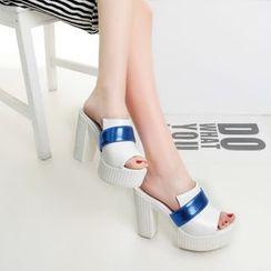 YOUIN - Platform Heel Mule Sandals