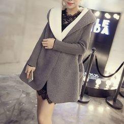 AININI - Panel Fleece Hooded Knit Coat