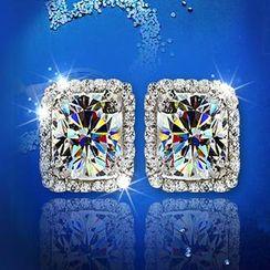 Nanazi Jewelry - 方形水晶耳环