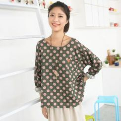 59 Seconds - Dotted Pocket Long-Sleeve Top
