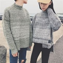 qiaqiayes - Mock-neck Applique Knit Top