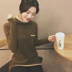 Alfie - Color-Block Turtleneck Long-Sleeve Top