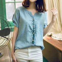 Moricode - 印花短袖襯衫