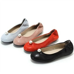 MODELSIS - Genuine Leather Faux-Pearl Detail Flats