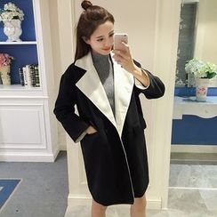 Bloombloom - Contrast Trim Long Woolen Coat