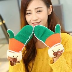 Leann - Two Tone Knit Mittens