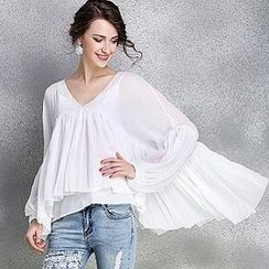 Ozipan - Long-Sleeve V-Neck Layered Top