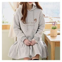 Sechuna - Ruffled-Hem Lettering Hooded Dress