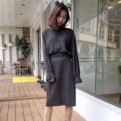 MePanda - Set: High-Neck Long-Sleeve Top + Midi Skirt