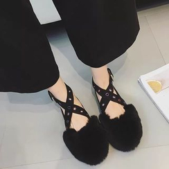 Chryse - Fluffy Cross Strap Flats