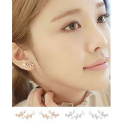 Miss21 Korea - Faux-Pearl Twig-Motif Earrings