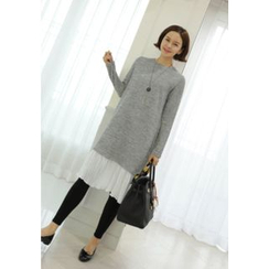 Lemite - Pleated Chiffon-Hem Knit Dress