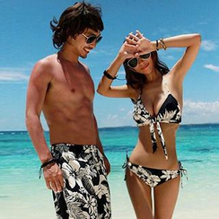 Beach Date - Couple Floral Bikini / Floral Beach Shorts / Couple Set: Floral Bikini + Beach Shorts