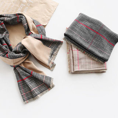 NIPONJJUYA - Wool Blend Plaid Long Scarf