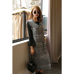 PPGIRL - Sleeveless Tweed Long Dress