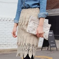 Seoul Fashion - Lace-Overlay Pencil Skirt