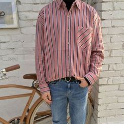 Seoul Homme - Pocket-Front Striped Shirt