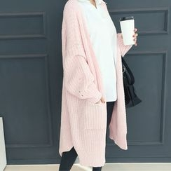 DANI LOVE - Open-Front Rib-Knit Long Cardigan