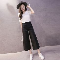 Maine - Set: Short-Sleeve T-Shirt + Wide-Leg Cropped Pants