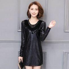 Maine - Faux-Leather Sheath Dress