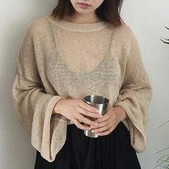 Windbird - Plain Sheer Long Sleeve Knit Top