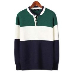Seoul Homme - Color-Block Henley Sweater