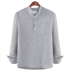 WIZIKOREA - Mandarin-Collar Striped Shirt