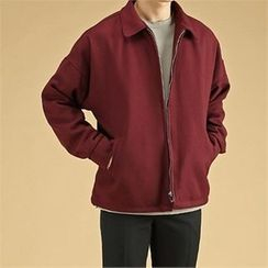THE COVER - Collared Wool Blend Zip-Up Jacket