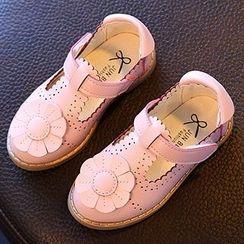 Luco - Kids Flower Accent Brogue T-Bar Shoes