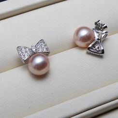 ViVi Pearl - Rhinestone Bow Freshwater Pearl Stud Earrings