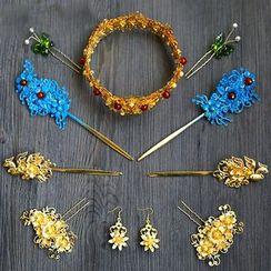 Neostar - 新娘套裝: 花形皇冠 + 花形髮簪 + 耳環