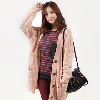 lovs - Drop-Shoulder Cable-Knit Cardigan