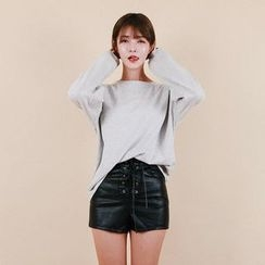 Vintage Vender - Lace-Up Faux-Leather Shorts