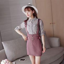 Zella - Set: Striped Shirt + Mini Suspender Skirt