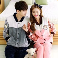 SHIRLEY - Couple Matching Pajama Set: Fleece Jacket + Pants