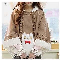 Sechuna - Frill-Trim Hooded Cape Coat