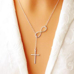 Cheermo - Infinity and Cross Pendant Sterling Silver Necklace