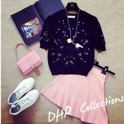 RUI - Set: Floral Patterned Top + Knitted Skirt