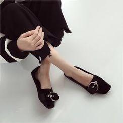 Linda Lane - 扣带绒面平跟鞋