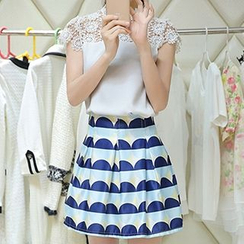 Fashion Street - Set: Lace Yoke Cap-Sleeve Top + Geometric Pattern A-Line Skirt