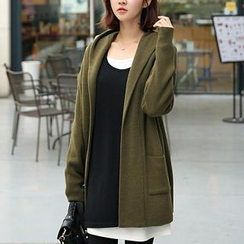 CLICK - Hooded Open-Front Long Cardigan