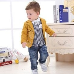 KUBEBI - Kids Set: Print Blazer + Patterned Shirt + Jeans
