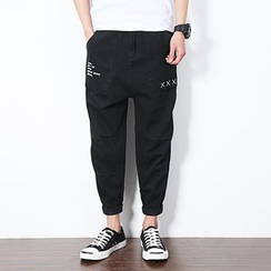 Bay Go Mall - Embroidered Cropped Harem Pants