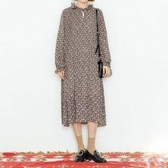 Heynew - 碎花长袖雪纺连衣裙