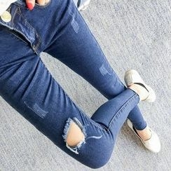 Colorful Shop - Distressed Slim-Fit Jeans