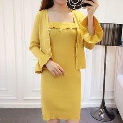 Honeydew - 套裝: 純色開衫 + 無帶針織連衣裙