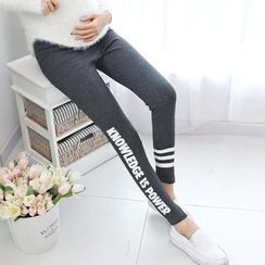 Cheer Mom - Maternity Lettering Leggings