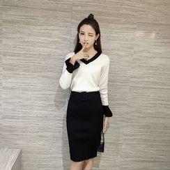 Honeydew - 套裝: V領針織套衫 + 裙
