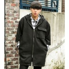 ABOKI - Hooded Elbow-Sleeve Coat