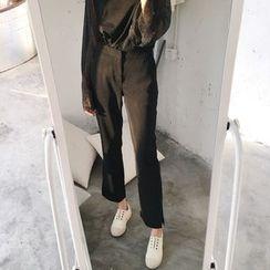 Kojasmine - Slit-Side Plain Pants